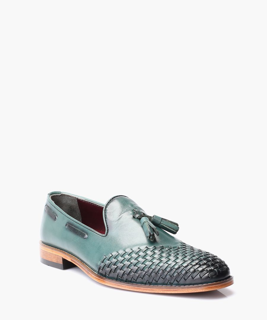 Green leather loafers