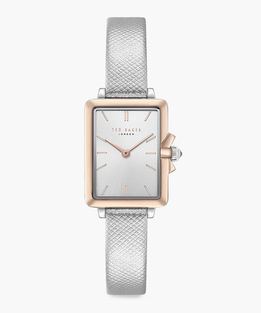 Tess silver leather and stainless steel watch