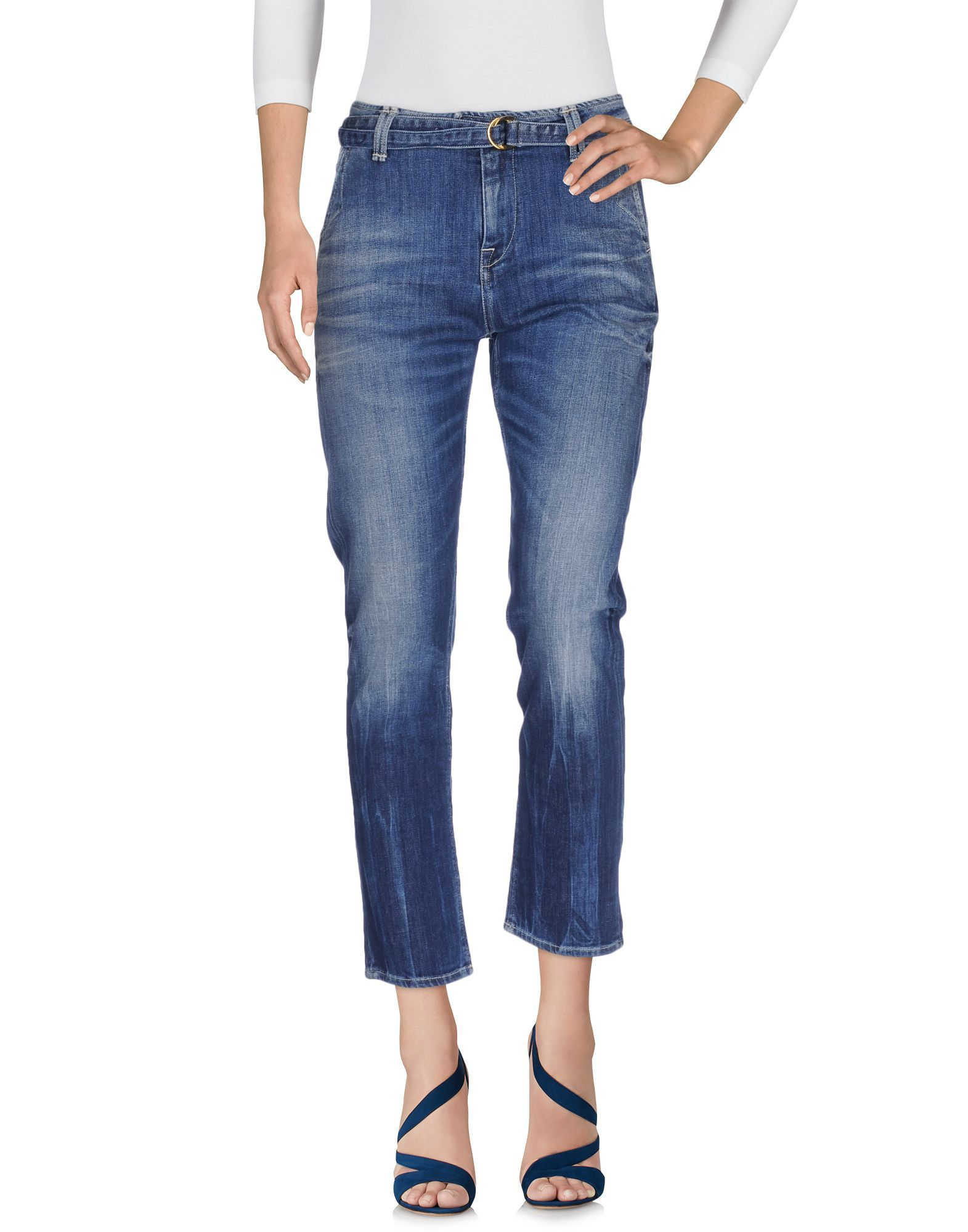 Cycle Blue Cotton Cropped Jeans