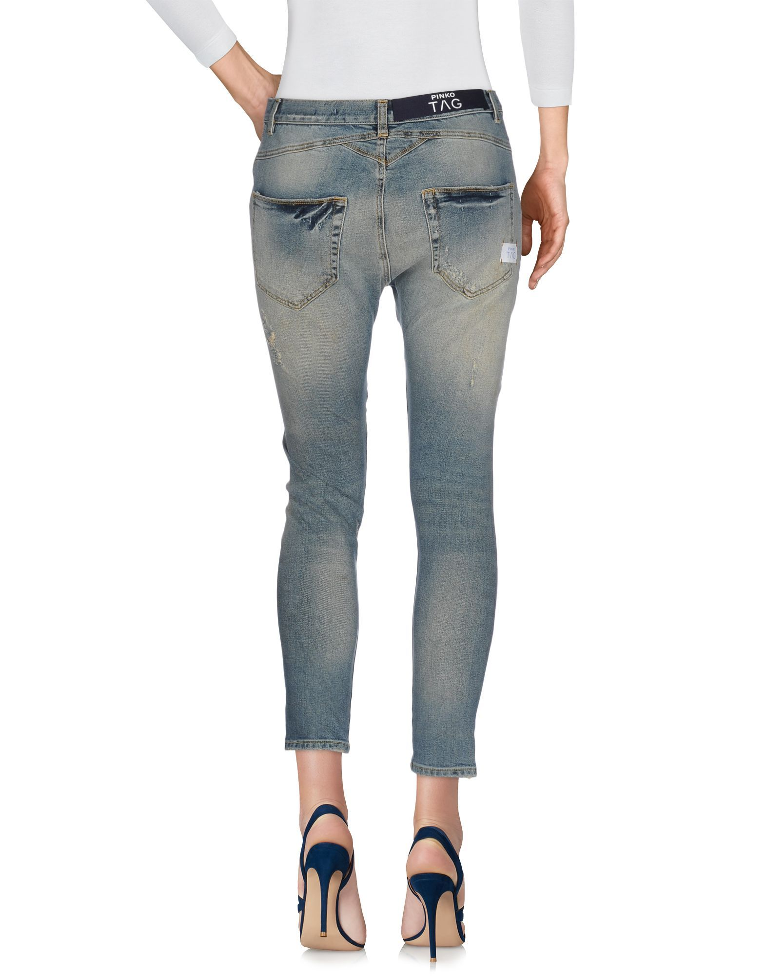Pinko Blue Cotton Cropped Jeans
