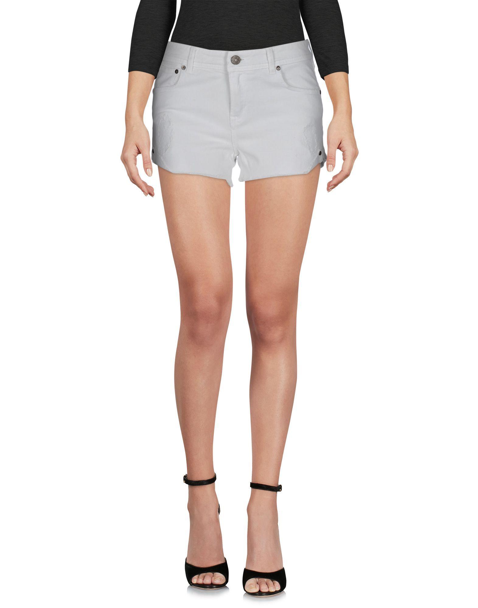 White denim cotton mid-rise shorts