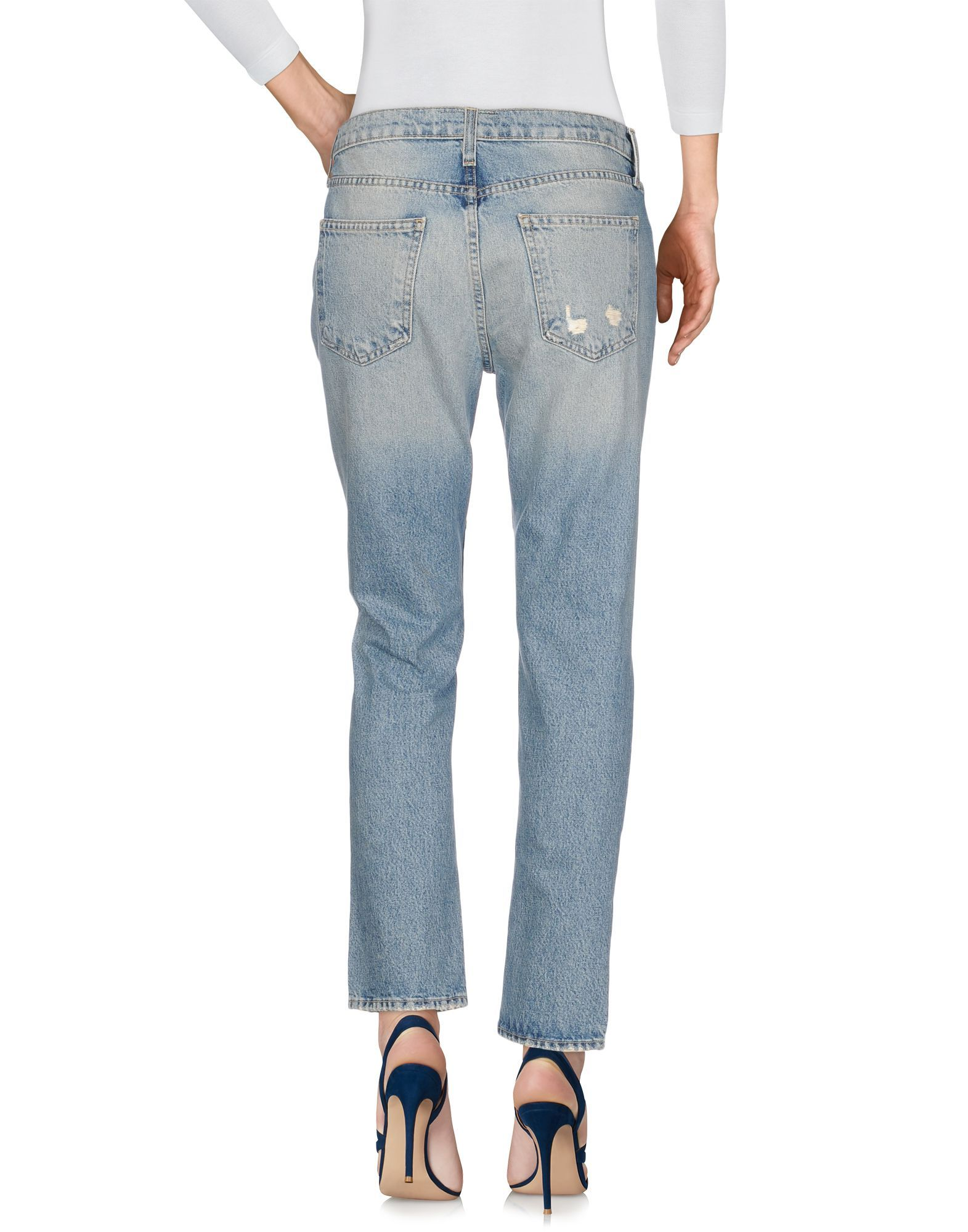 Current/Elliott Blue Distressed Cotton Jeans