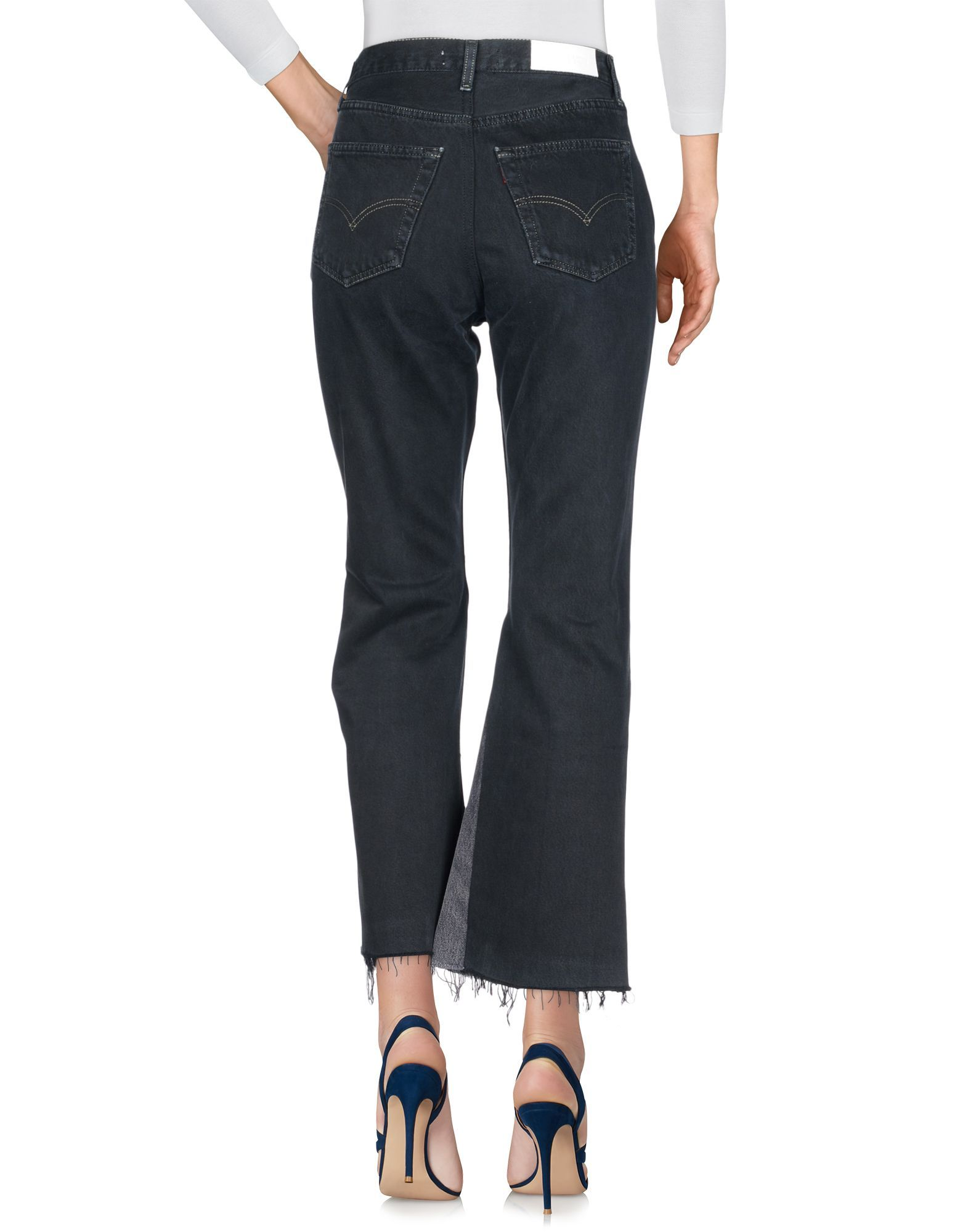 Re/Done With Levi's Dark Blue Cotton Cropped Jeans