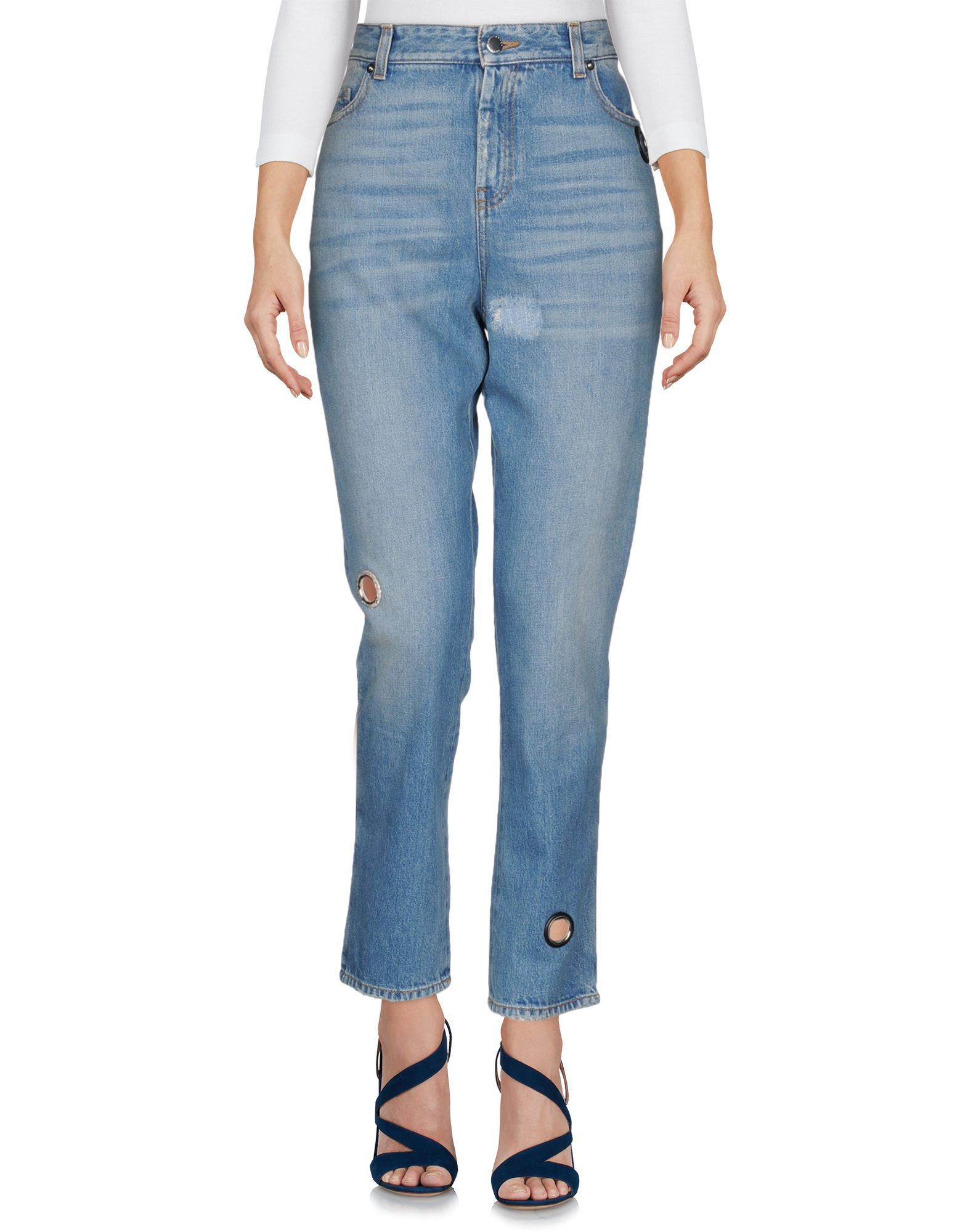 Christopher Kane Blue Cotton Pantaloni jeans