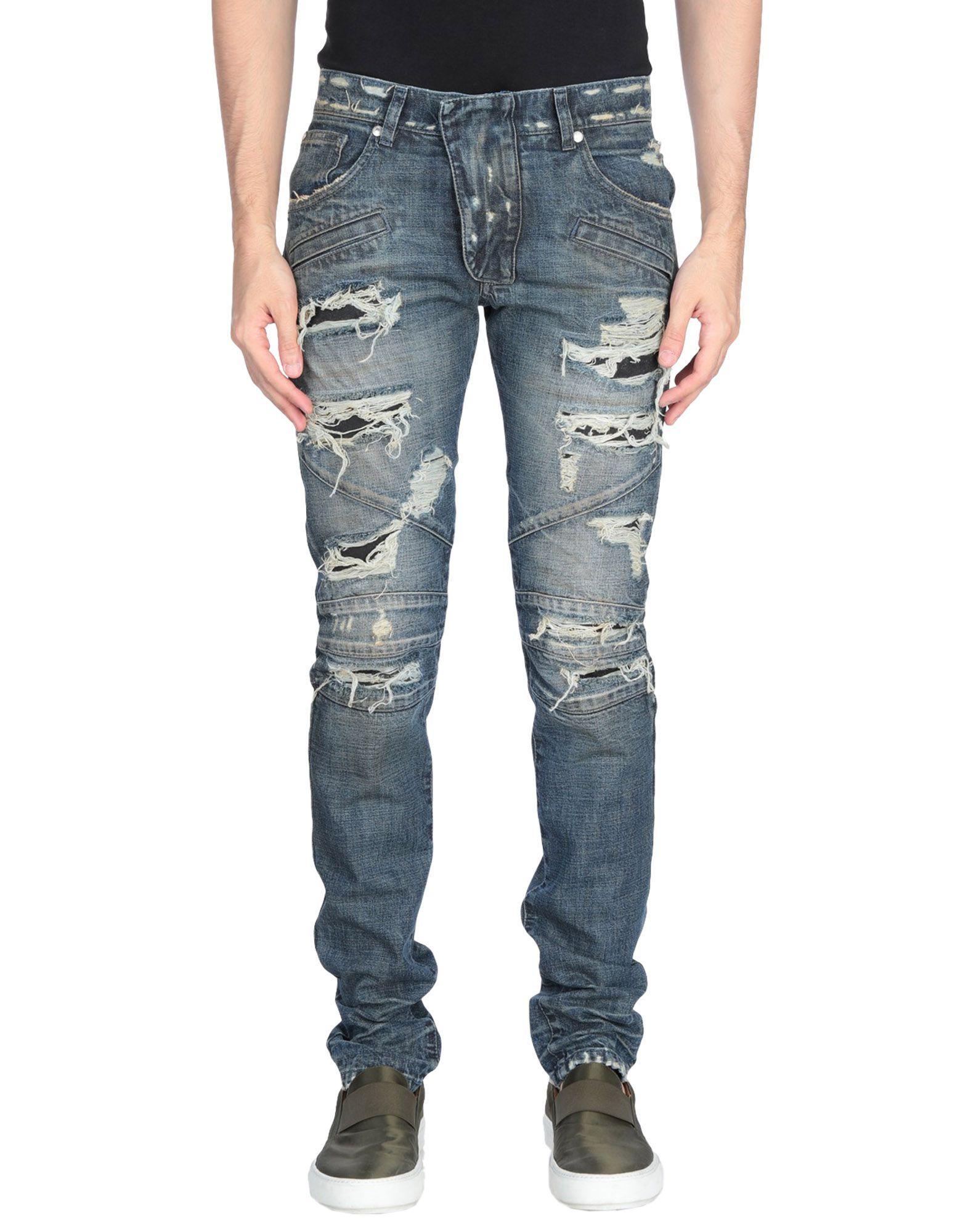 Pierre Balmain Blue Cotton Worn Effect Jeans