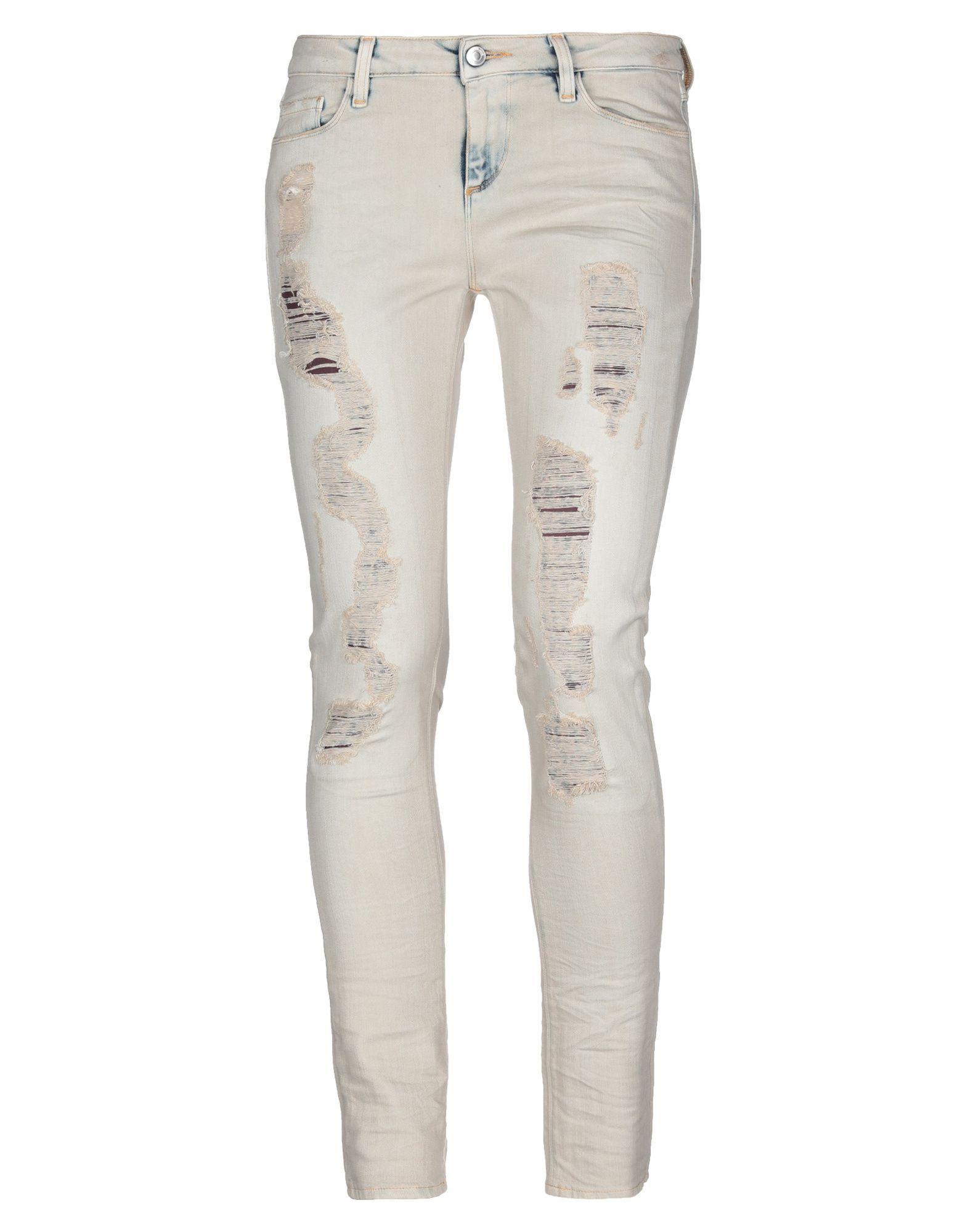 Iro Beige Cotton Distressed Jeans