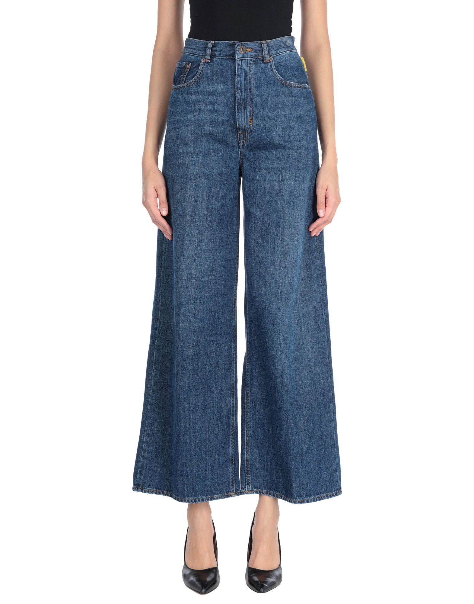 Meltin Pot Blue Cotton Cropped Wide Leg Jeans