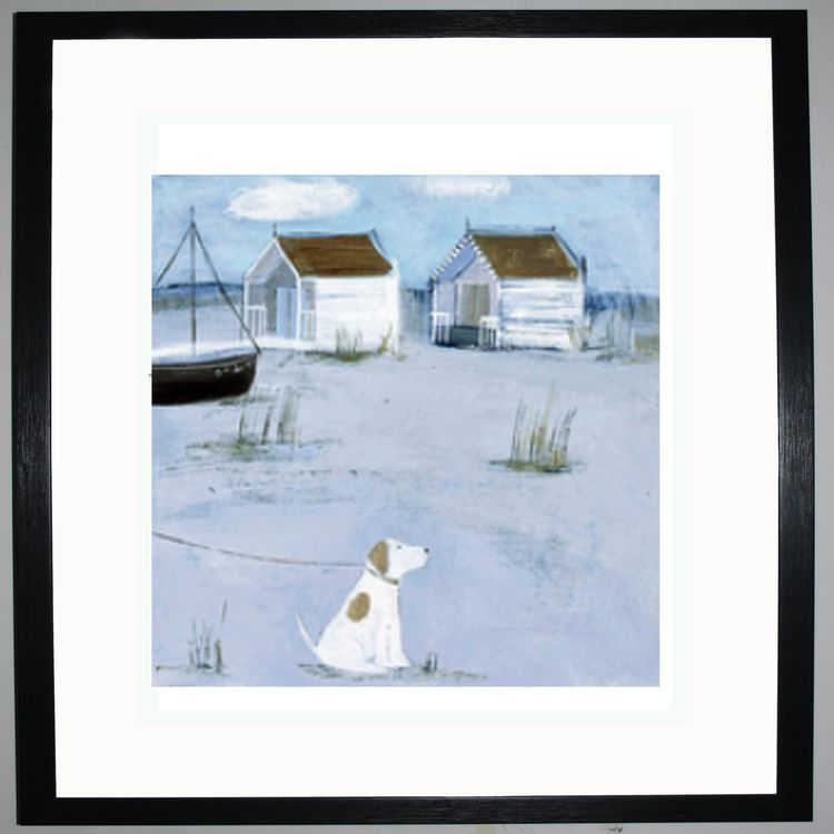By the Beach Huts Art Print by Hannah Cole