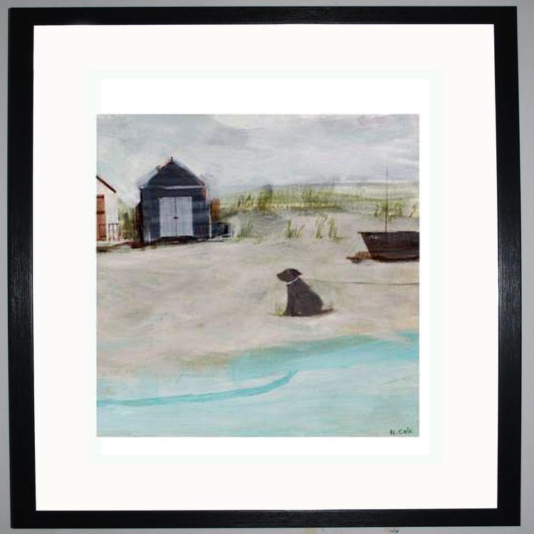 Beach & Hut & Dog Art Print by Hannah Cole
