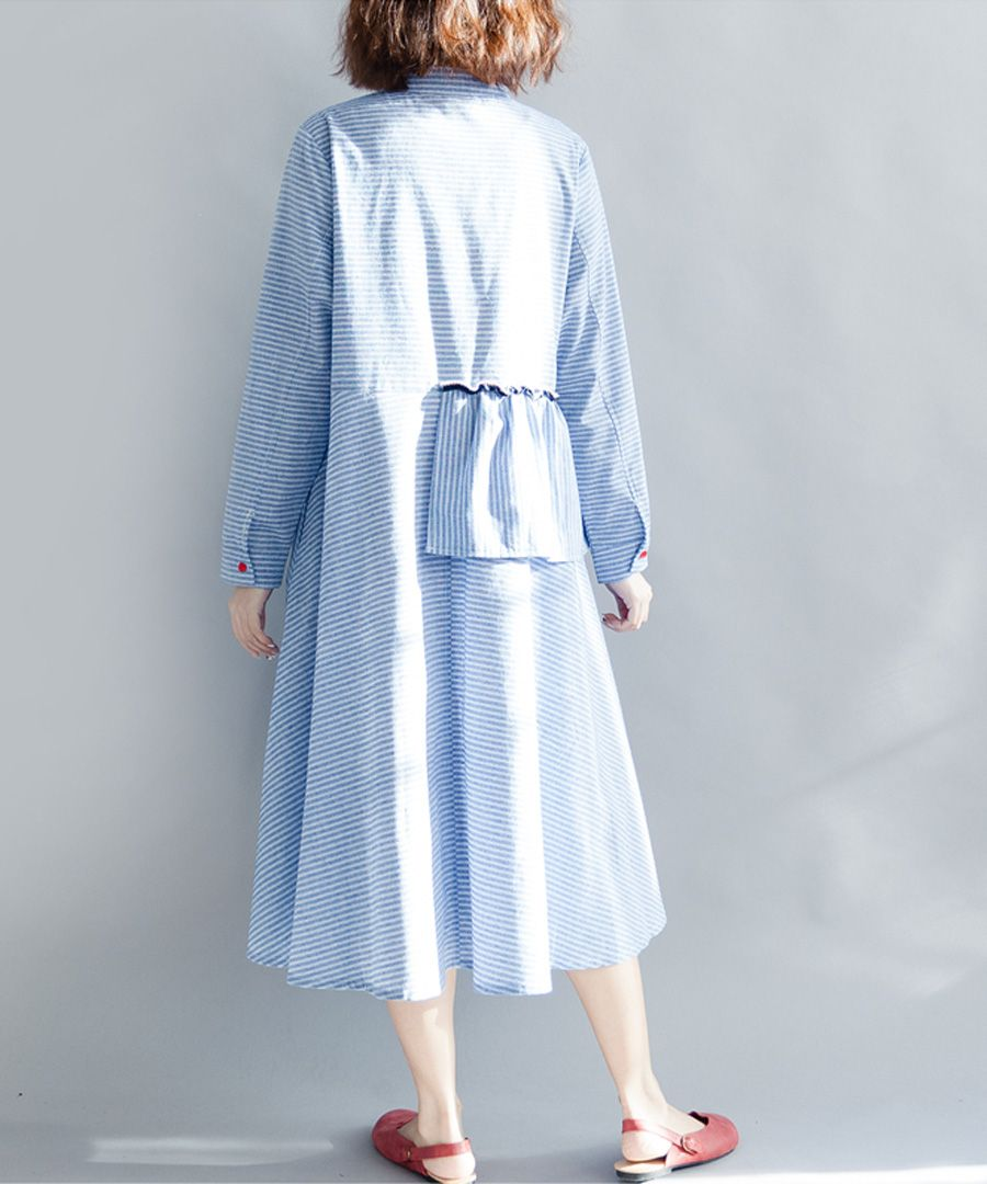 Blue cotton blend peplum midi dress