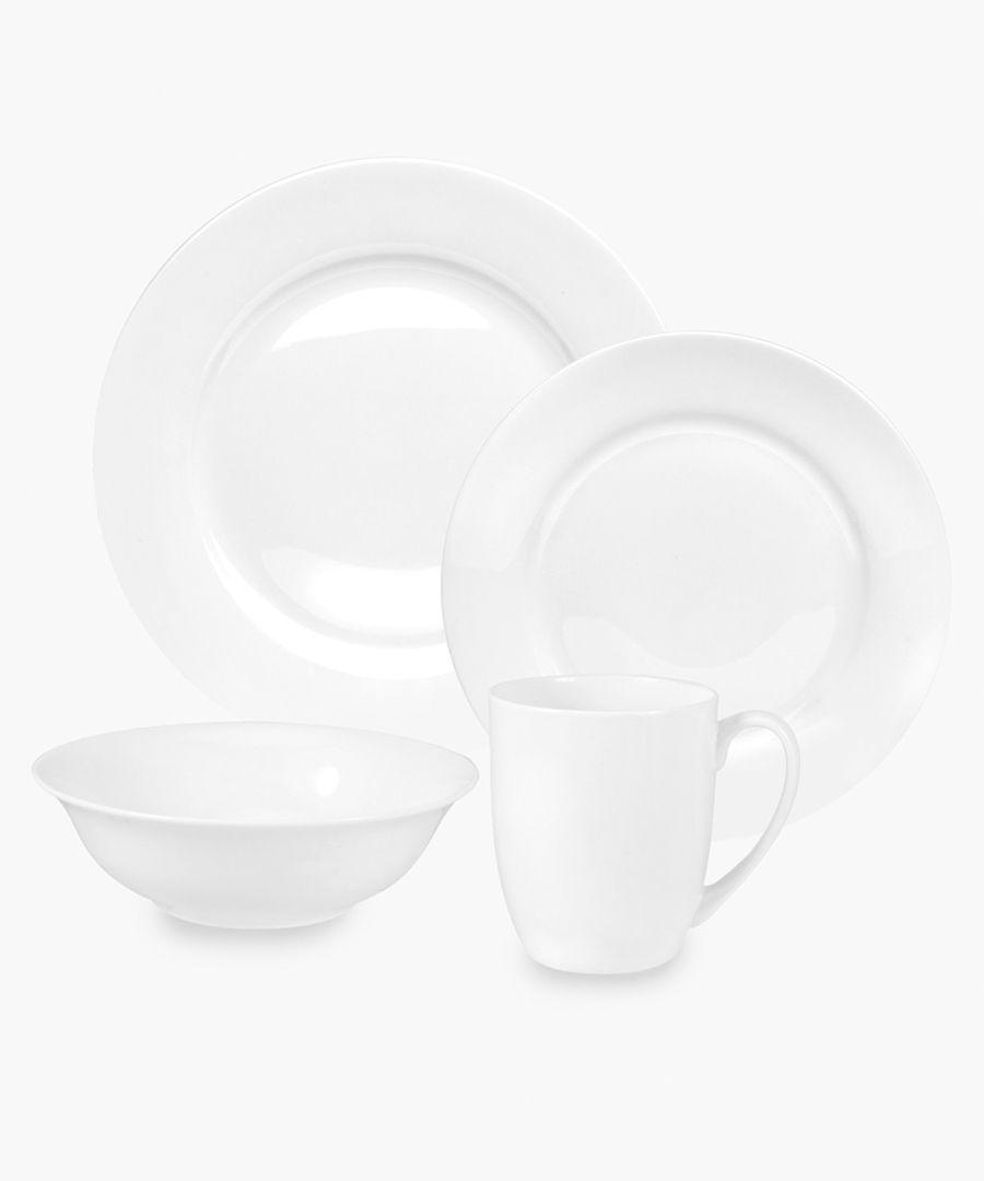 16pc Serendipity plain white bone china set