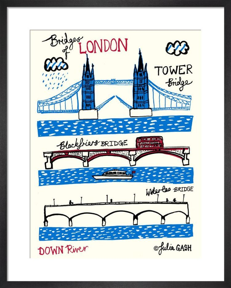 Bridges of London – Downriver Cityscape by Julia Gash
