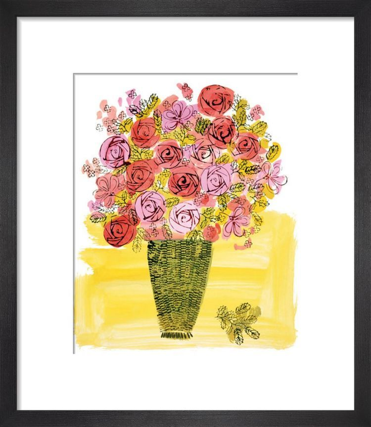 (Stamped) Basket of Flowers, c 1958 by Andy Warhol