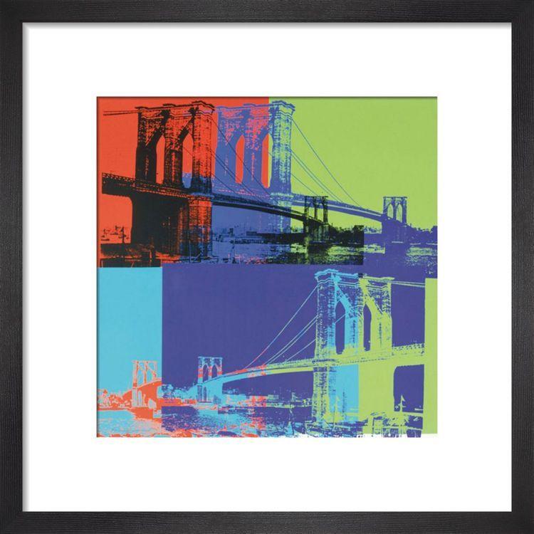 Brooklyn Bridge, 1983 (orange, blue, lime) Art print by Andy Warhol