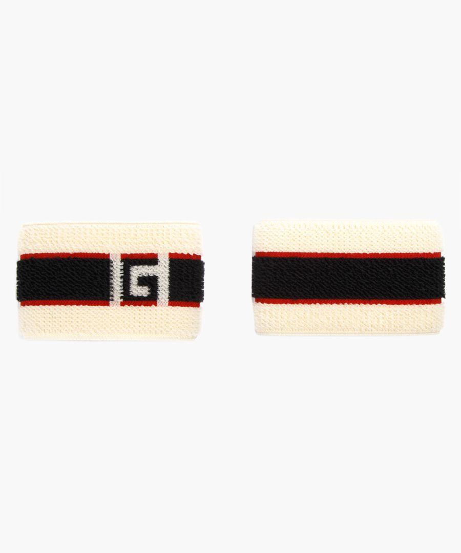 2pc Multi-coloured stripe logo headband and wrist cuffs set