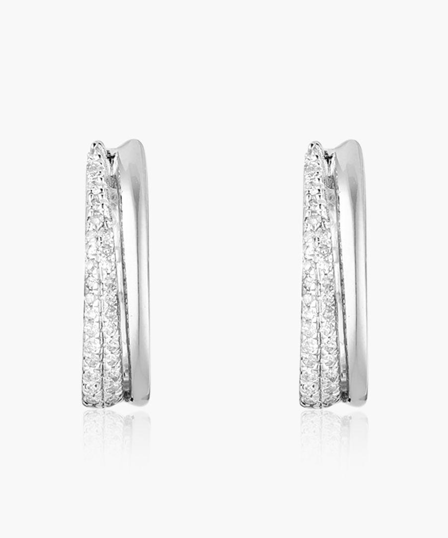 Mayan Creole silver earrings