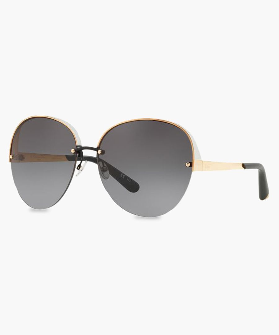 White and gold-tone oversized sunglasses