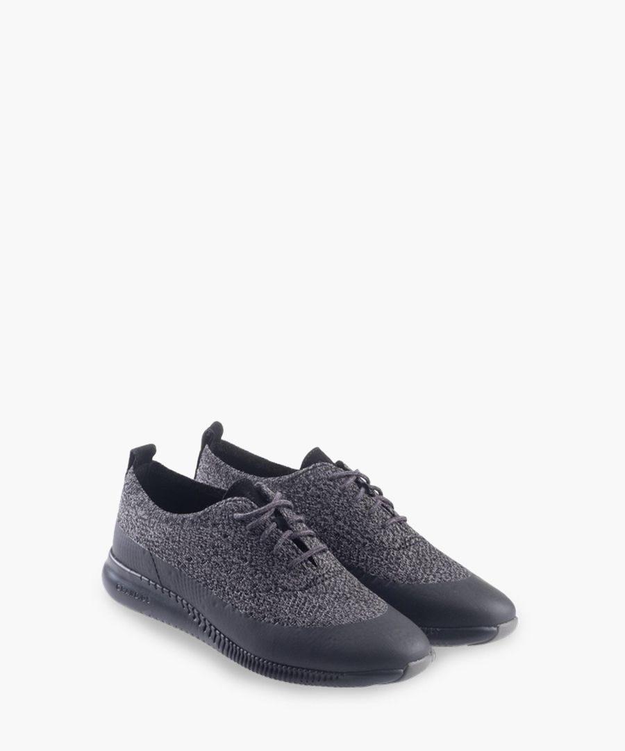 Womens black knit Oxford shoes