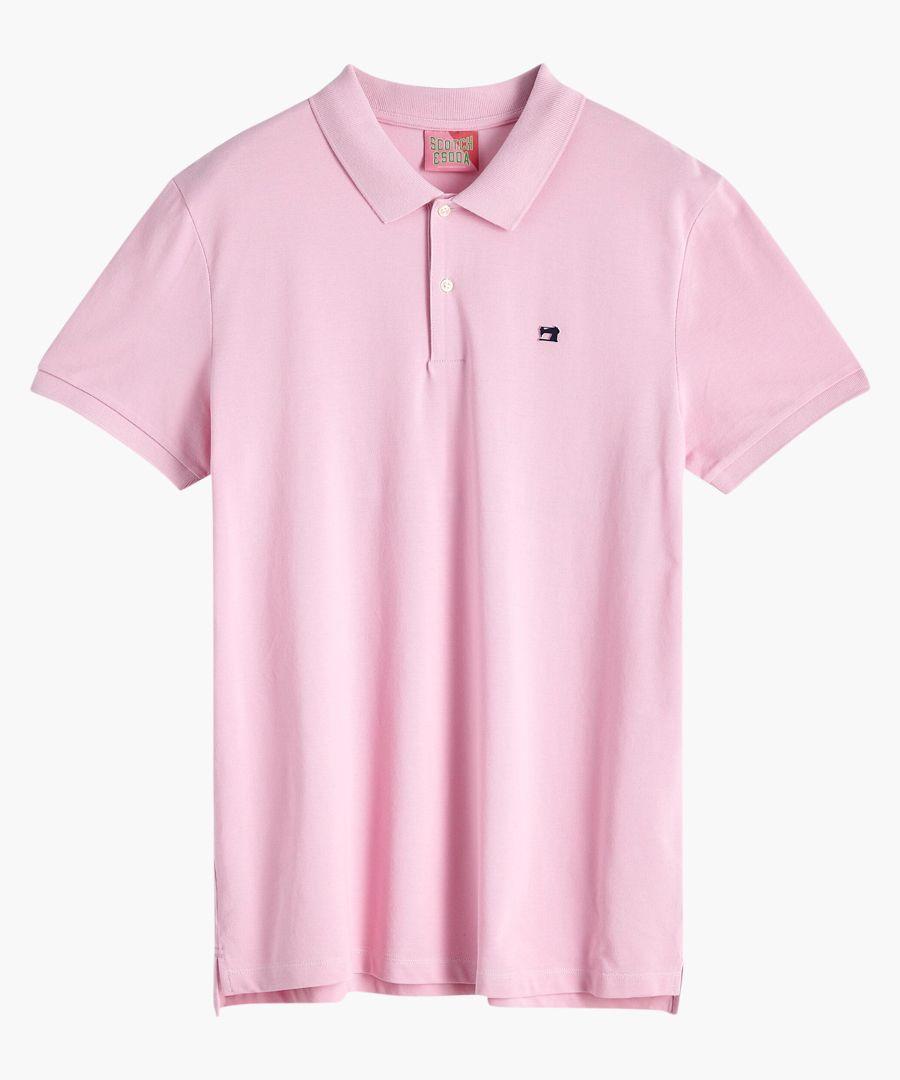 Pink smoke cotton pique polo shirt