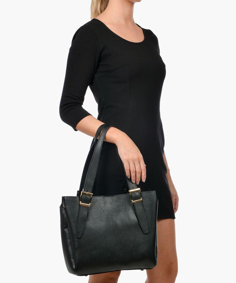 Black leather shopper