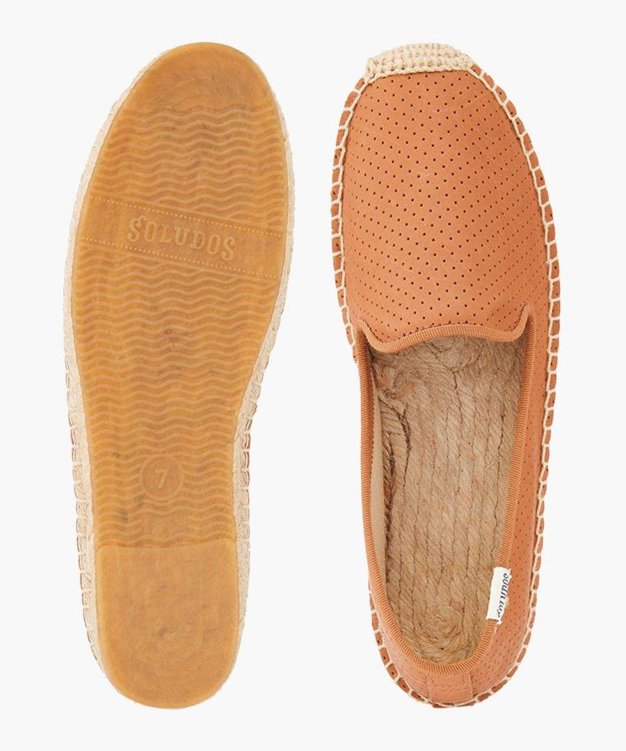 Smoking leather perforated espadrilles