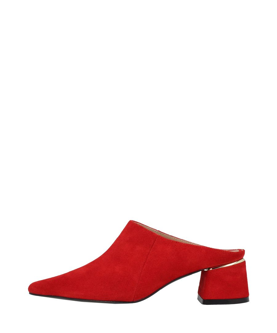 Red leather block heel mules