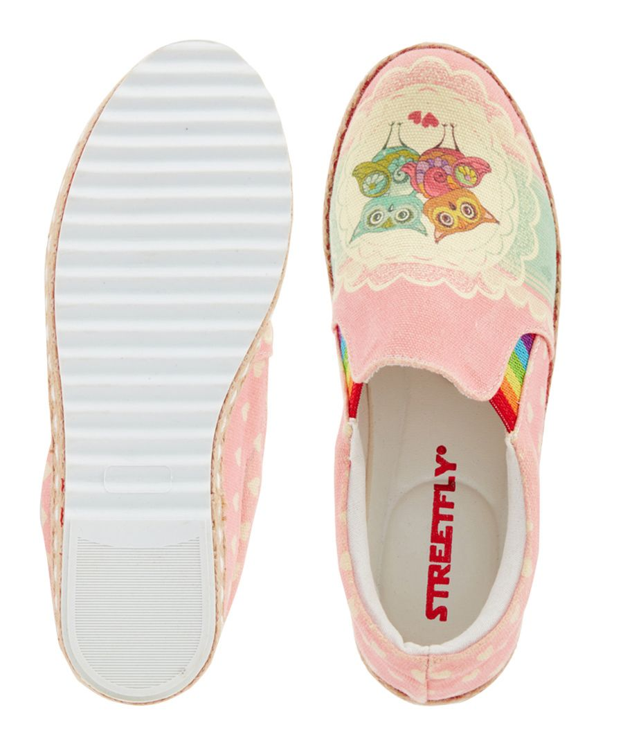 Multi-coloured print slip-ons