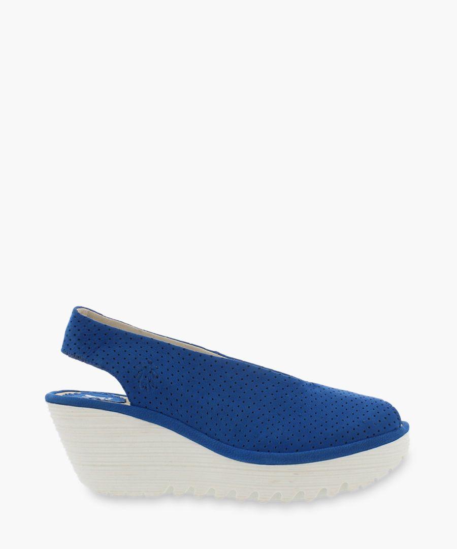 blue suede slingbag wedges