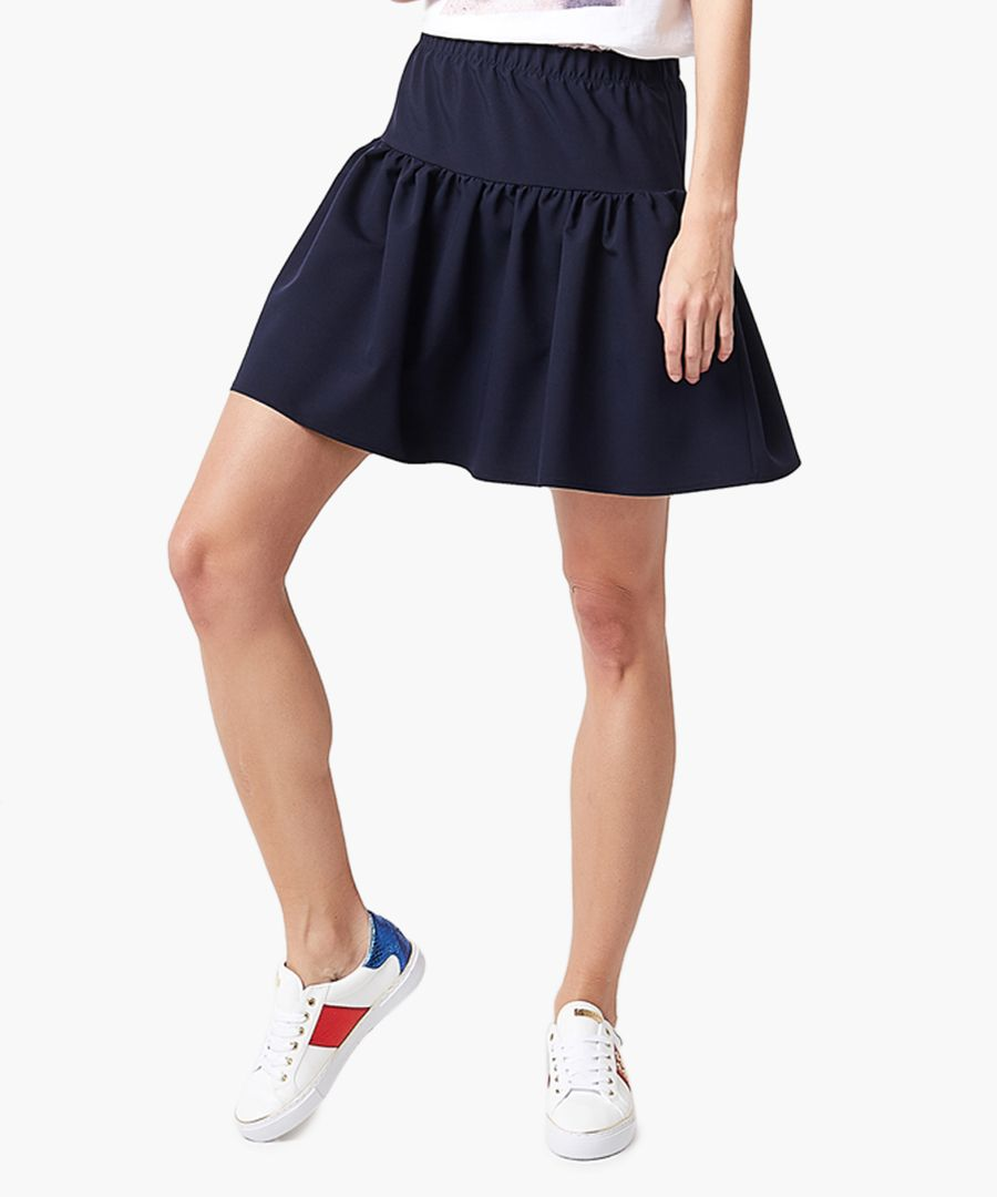 Navy fit & flare mini skirt