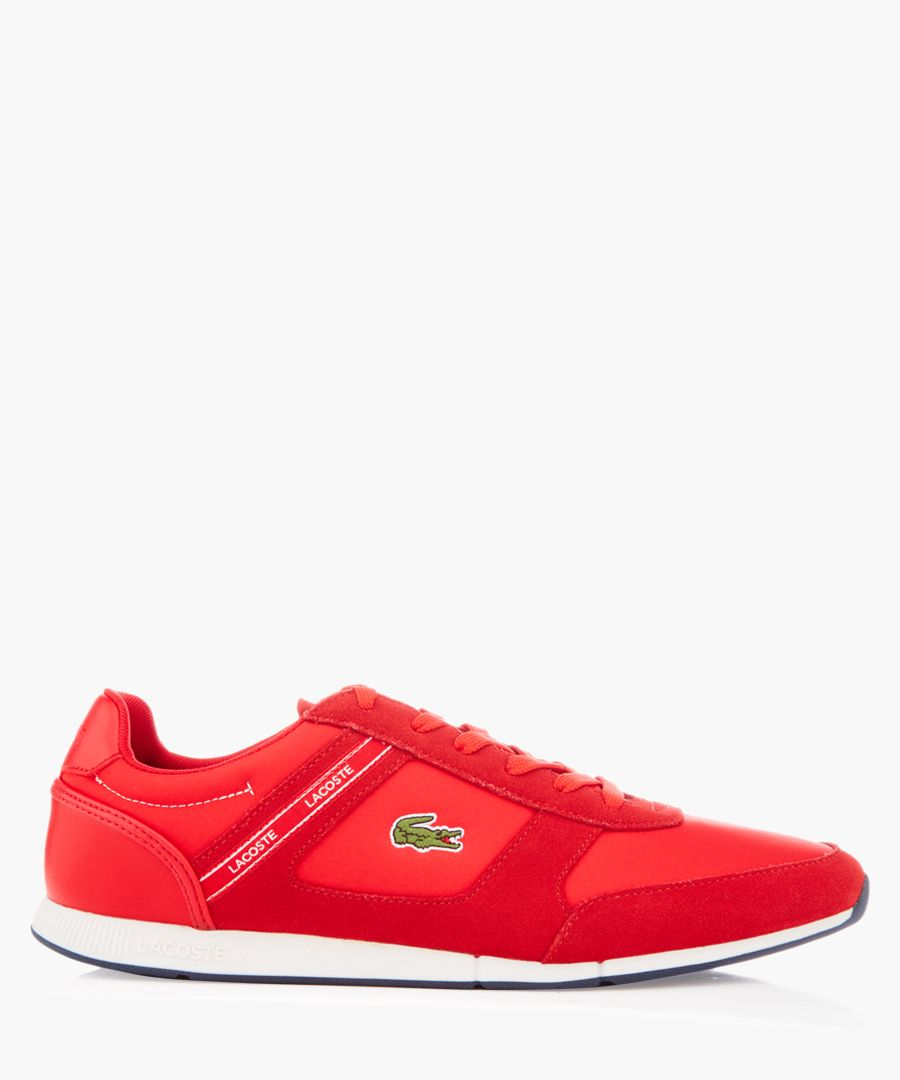 Menerva red textile and suede trainers