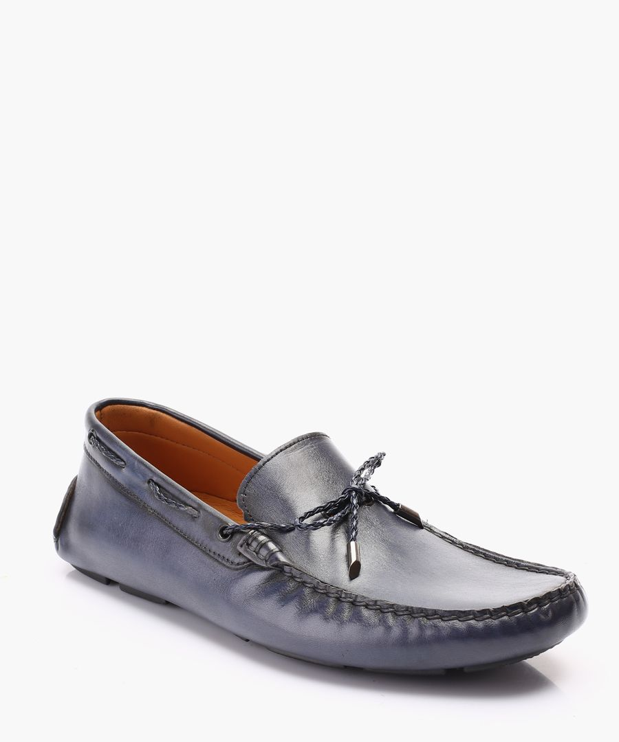 Blue leather loafers