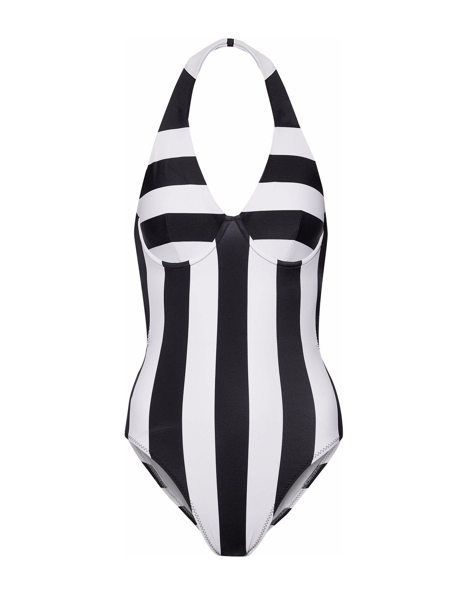 Norma Kamali White Stripe Halterneck Swimsuit