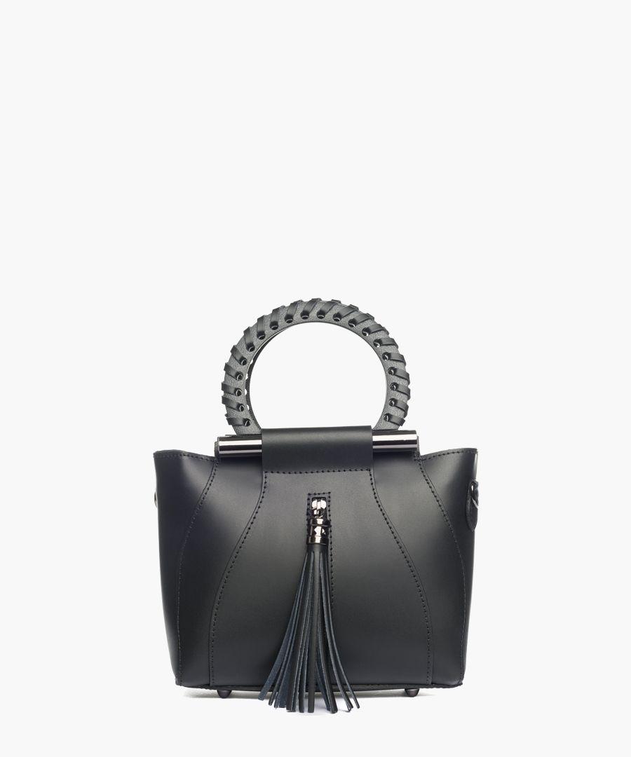 Montorfano black leather grab bag