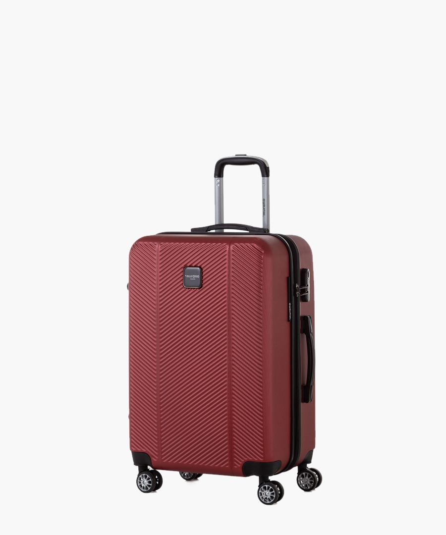 Red spinner suitcase