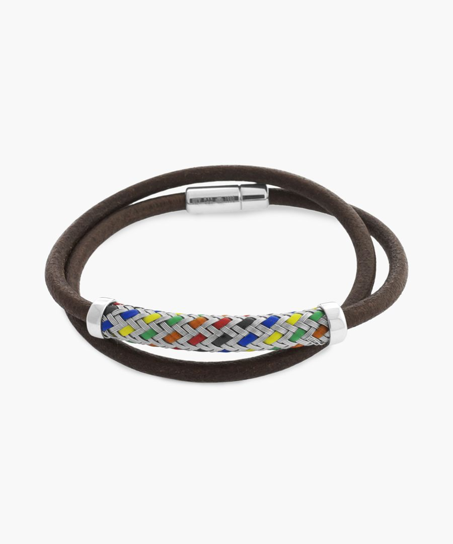 Pop kaleidoscope silver and leather bracelet