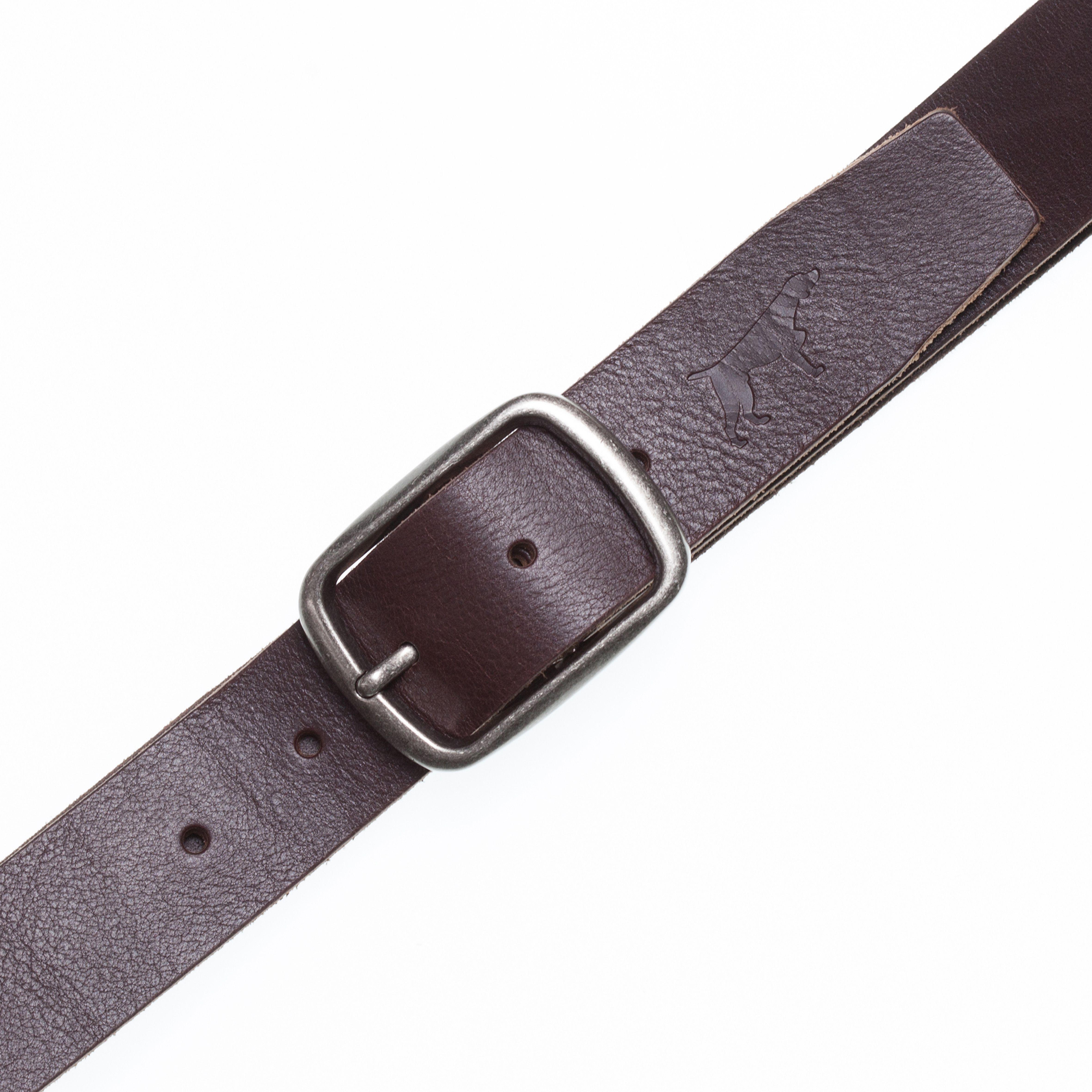 Mens mocha leather belt
