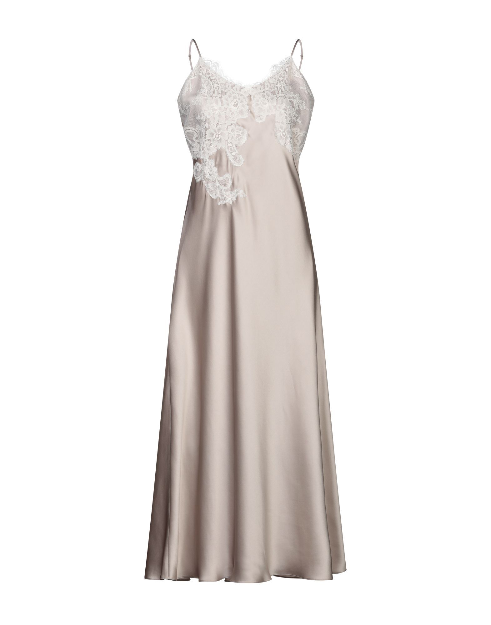 Vivis Dove Grey Silk And Lace Full Length Nightdress