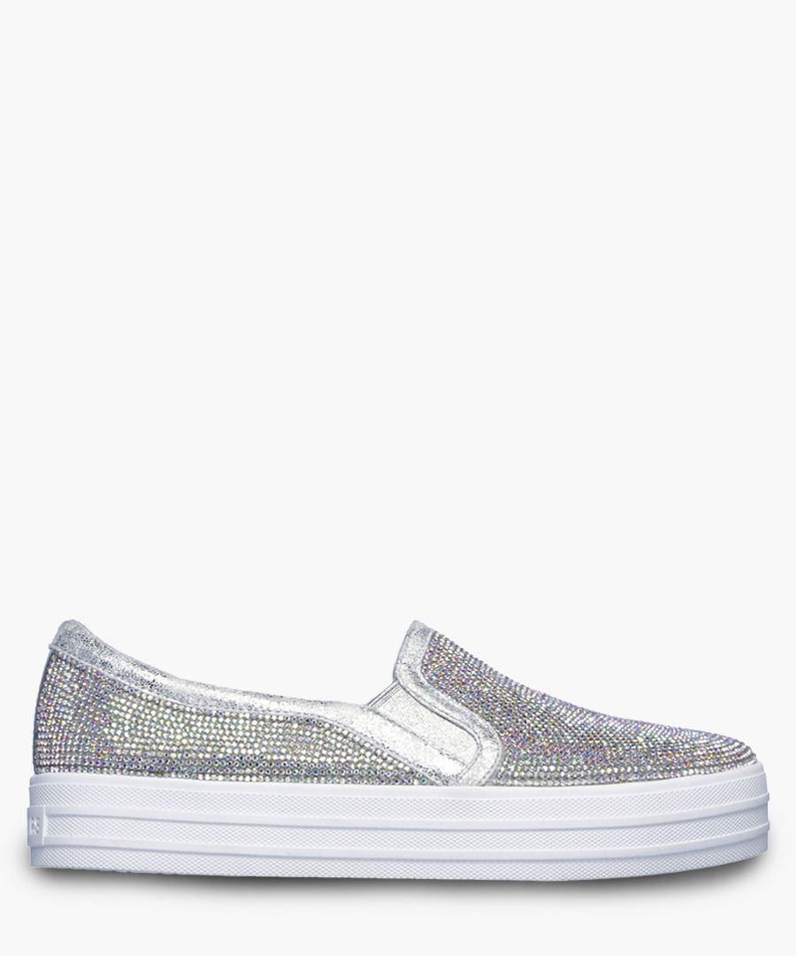Double up rhinestone silver-tone trainers