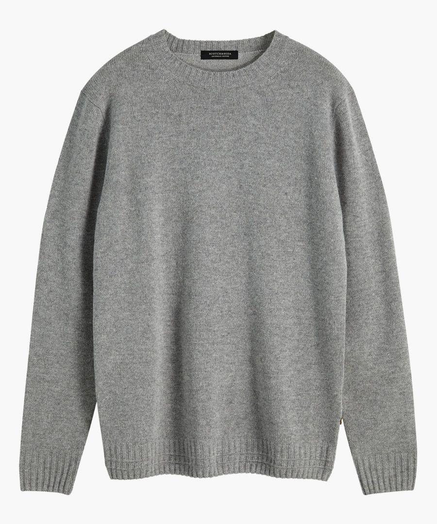 Grey wool-blend crew neck jumper