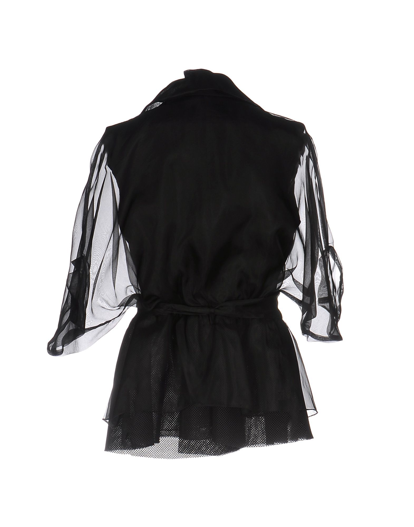 Mangano Black Double Breasted Jacket With Organza Sleeves
