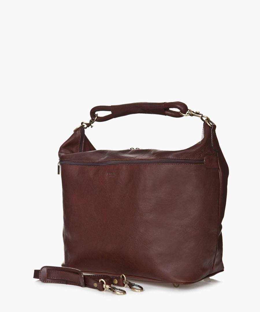 Dark brown leather grab bag