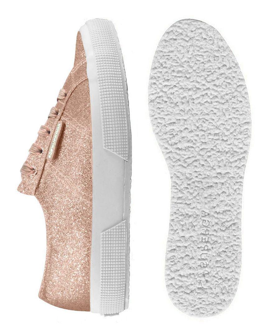 rose gold-tone glitter trainers
