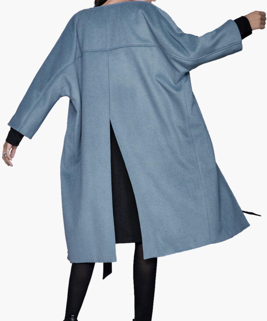 Slate blue wool blend long-length coat