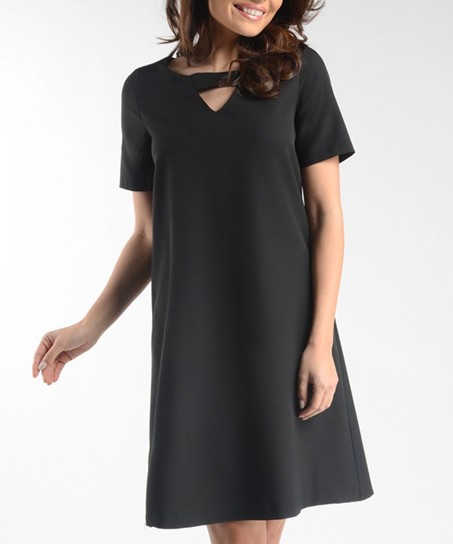 Black cut-out short sleeved dress