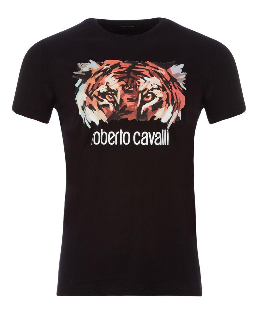 Black pure cotton tiger logo T-shirt