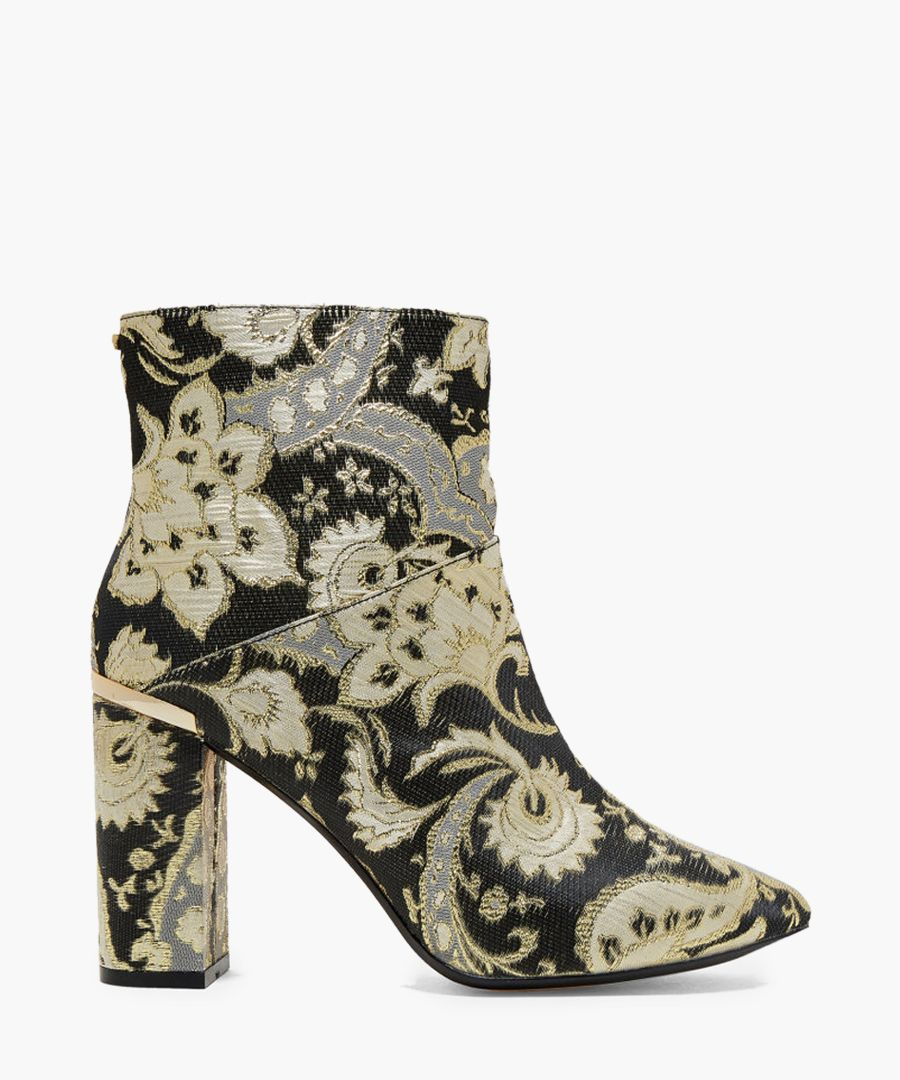 Ishbel black and gold-tone paisley jacquard ankle boot