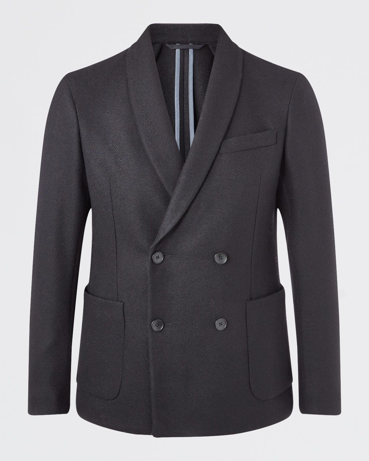Pique Wool Double Breasted Shawl Blazer