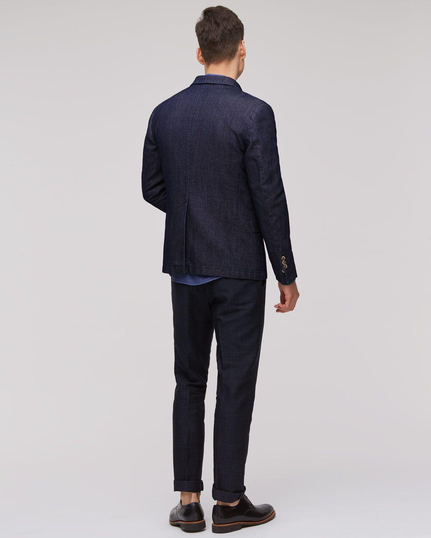 Indigo Jacquard 2 Button Jacket