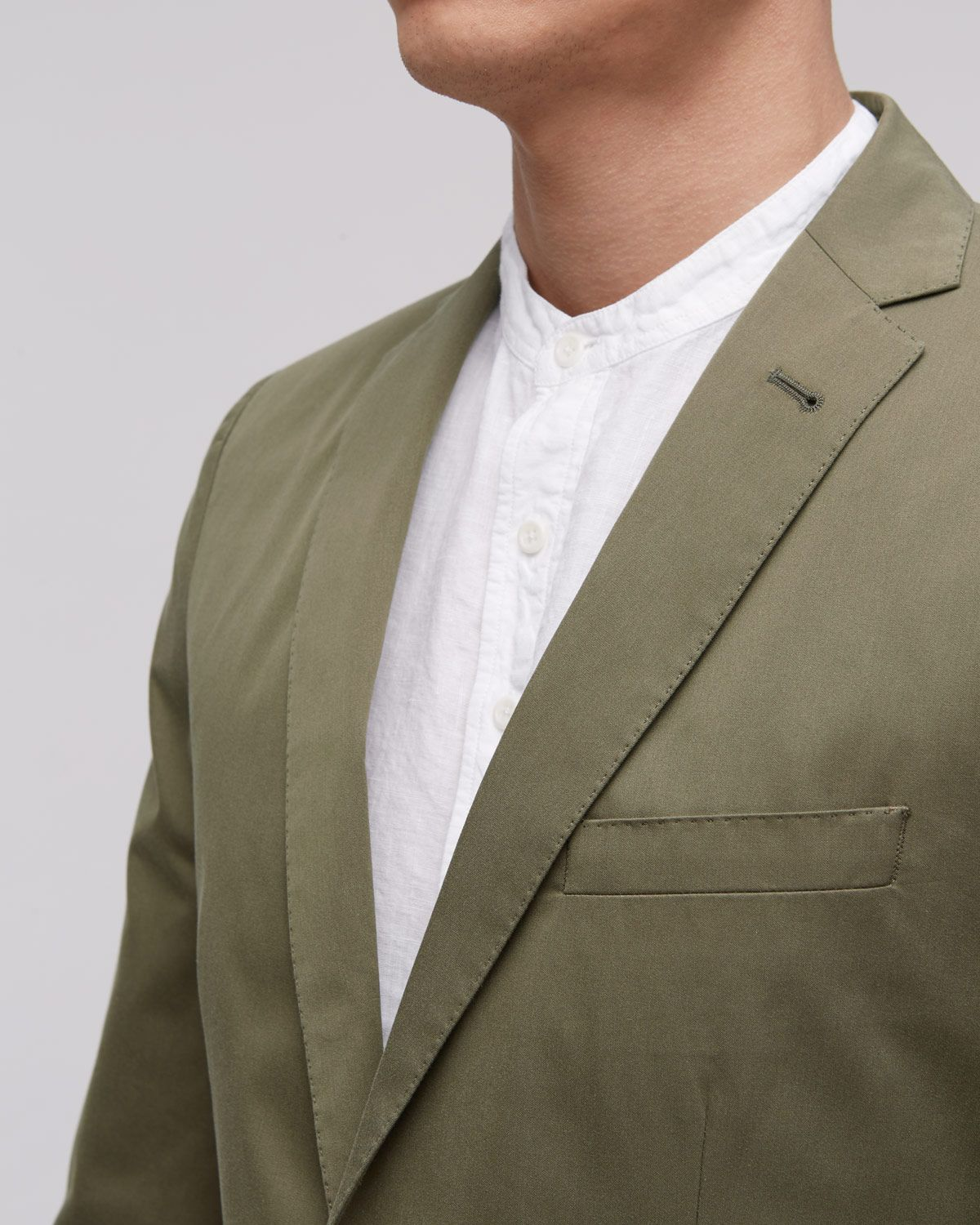 Fine Cotton Twill Two Button Tailored Jacket