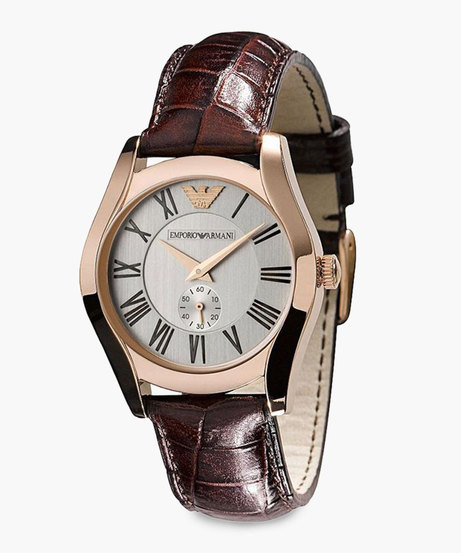 Stainless steel and brown leather watch